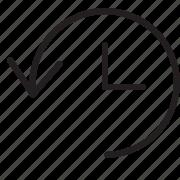 arrow, away, line, loop, time icon