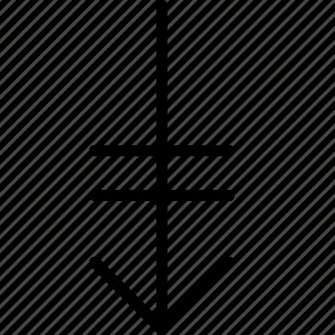 arrow, bottom, down, end icon