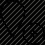 add, location, marker, plus icon