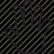 block, gesture, hand, line icon