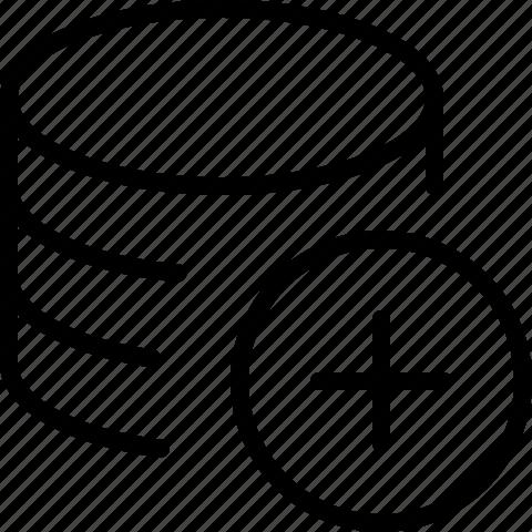 add, data, line, new, plus, server icon