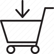 add to cart, down, shopping cart icon