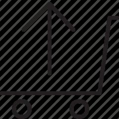 arrow, empty cart, shopping cart, up icon