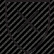 delete, remove, shield icon
