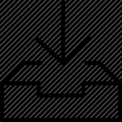 arrow, down, inbox icon