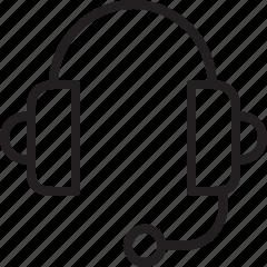 headphone, headset, line, listening, music icon
