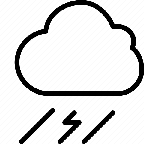 cloud, lightning, line, storm, thunderstorm, weather icon