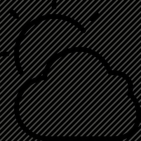 cloud, line, sun, sunny, weather icon