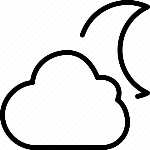 cloud, crescent, line, moon, night, weather icon