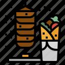 fast, food, kebab, meat, roll icon
