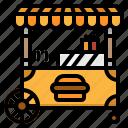burger, food, kiosk, stand, umbrella