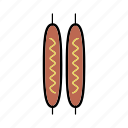 frankfurter, sausage, sausages on the grill, snacks, street food icon