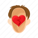 head, heart, love, man, people, stress, stressed icon