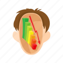 arrow, chart, down, graph, head, man, stress icon