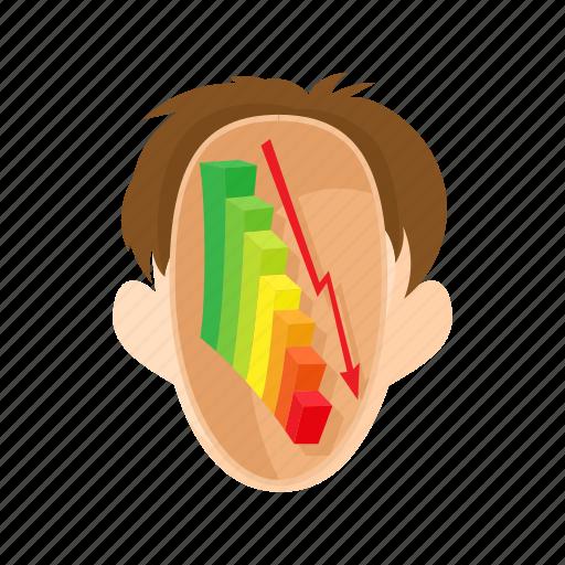 arrow, chart, down, graph, head, man, stress icon