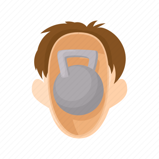 character, head, kettlebell, man, people, stress, stressed icon