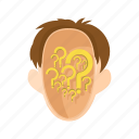 gear, head, man, people, question, stress, stressed icon