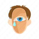 eye, head, man, people, stress, stressed, tear icon