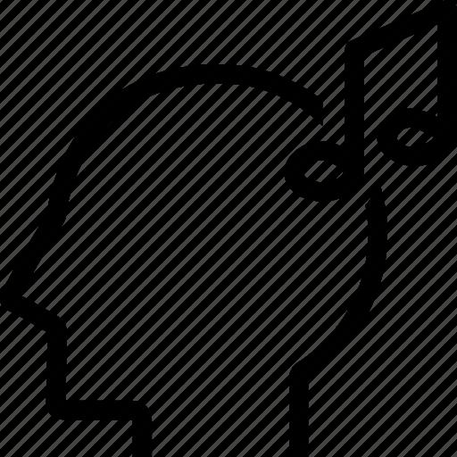 audio, head, music, person icon