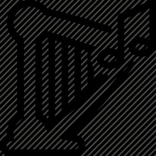 audio, harp, music, player, sound icon