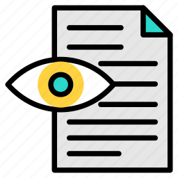analysis, check, document, eye, review, search, search docs icon icon