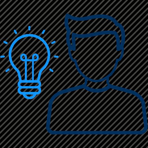 bulb, creativity, human, idea icon