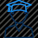 boy, graduate, student, university icon