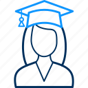 female, girl, graduate, university icon