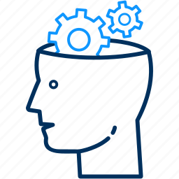 brain, configuration, gear, options, preferences, settings icon