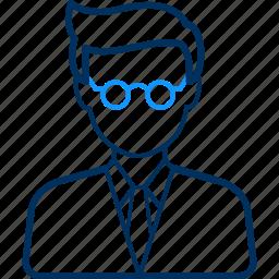 account, avatar, face, male, profile, teacher icon