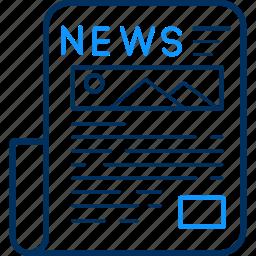 article, blog, information, media, news, newsletter, newspaper icon