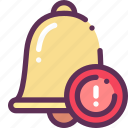 bell, caution, danger, lesson, study icon