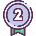 award, medal, place, second, win, winner icon