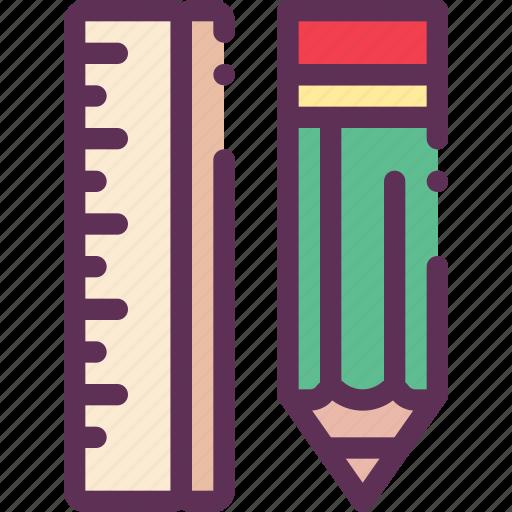 education, pencil, ruler, school icon
