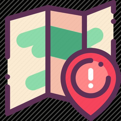 caution, destination, map, mark, schematic icon