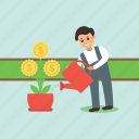 care of finance, finance concept, growing money plant, investment symbol, watering money plant icon