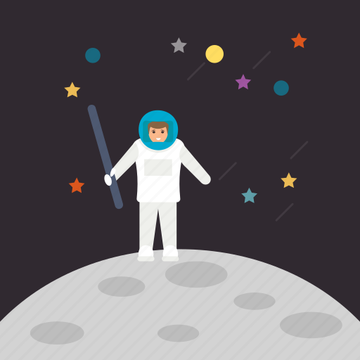 astronaut on lunar, astronaut with flag, space adventure, space exploration, space mission icon