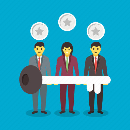business competition, success concept, successful team, winner holding key, winning team icon