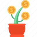 business growth, dollar plant, financial concept, financial growth, financial investment icon