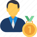 best businessman, business competition, businessman of the year, businessman with medal, top seller icon