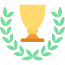 award trophy, golden trophy cup, trophy with wreath, win icon