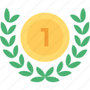 award, gold medal, honor, medal, wreath medal icon
