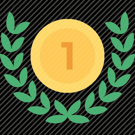 award, gold medal, honor, medal, wreath medal icon