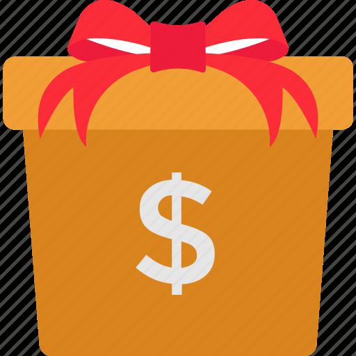 bonus, cash gift box, donation, monetary concept, money gift box icon