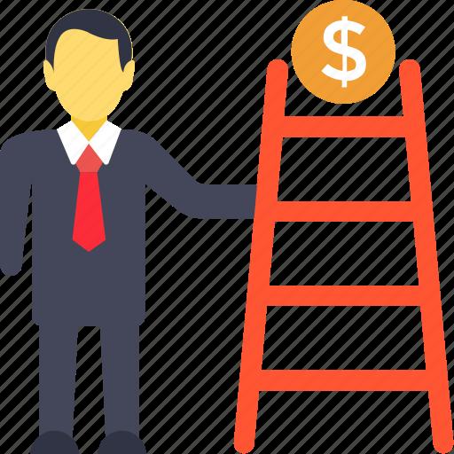 business achievement, business ladder, business success, financial growth concept, successful businessman icon