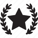 award, honor, medal, star medal, wreath star medal icon
