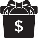 bonus, cash gift box, donation, monetary concept, money gift box icon