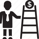 business achievement, business ladder, business success, financial growth concept, successful businessman icon