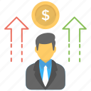 business achievement, business growth, perks, profit, return icon