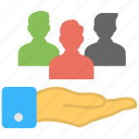 hand holding people, human allocation, people management, recruitment, resource allocation icon